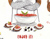 -- ILLUSTRATED RECIPE --Tasty Salmorejo Fresh soup