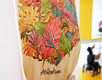 Wondering watercolor on skate deck