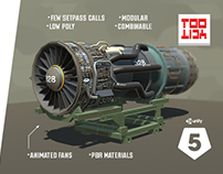 3D Game Assets: Military Jet Engine with Stand