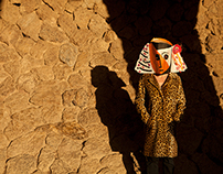 Picasso's masks at Gaudi's Park Güell in Barcelona