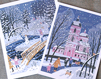 New year and Christmas postcards