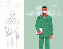 Doctor, Minimalist Illustration