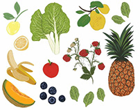 Sample of fruit and veggie illustrations, hire me!
