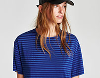 FAKE SUEDE STRIPES TSHIRT