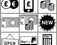 Grayscale shopping icons