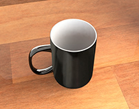 3d Black Coffe Mug