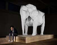Origami Artist Make Elephant From Piece of Paper