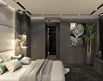 Modern Bedroom & Bathroom in dark