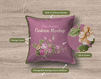 Free Premium Square Pillow / Cushion Mockup PSD