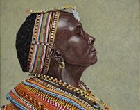 Samburu woman, tempera on canvas, 2014.