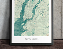 Vintage City Map Art Posters