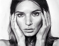 Emily Ratajkowski Pencil Portrait