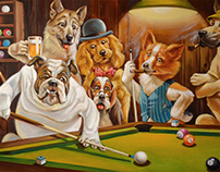 Dog's playing billiards