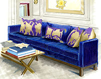 Marker Drawing: Living Room with Blue Velvet Sofa
