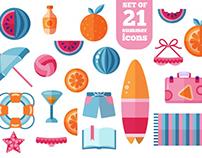FREE Trendy Summer Beach Flat Icons Set