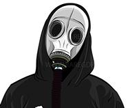 Gas Mask Illustration for client, Andrew Furca (2014)