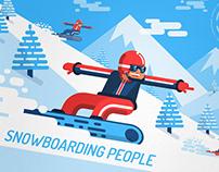 Snowboarding people