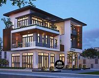 Mẫu thiết kế nhà biệt thự đẹp 3 tầng hiện đại 10x15m