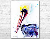 Brown pelican watercolor painting by Slaveika Aladjova