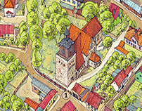 Mapa rysunkowa Morynia. Drawing map of Moryn.