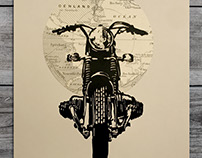 Wanderlust BMW Motorcycle Linocut Print