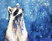 Raccoon in watercolour