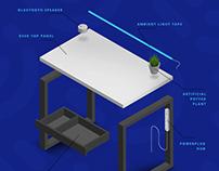 Smart desk KOMETA - product design/ furniture design