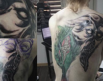 "surreal dark art backpiece ""at work"""