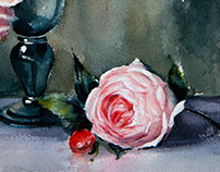 Watercolor roses in a vase
