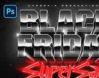 80s Black Friday Text and Logo Effect PSD Template