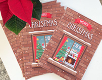 Christmas window - greeting card in flat style