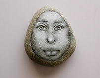 Twin I Face on Stone