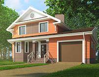 Orange brick house