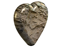 3D heart of stone with a transparent background