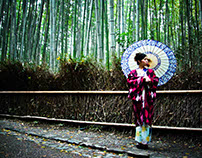 Traditional Dress in the Bamboo Forest, Kyoto