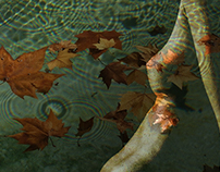 Akt mit Herbstblättern