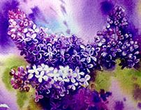 Watercolor lilac. Part 2