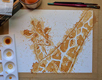 Giraffe painted using tea