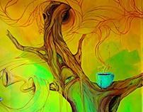 Mural painting Mushroom tree