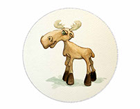 """Illustrations for the book """"Murrie the Moose"""""""