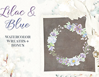 Watercolor wreaths of lilac and blue flowers