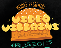 Video Villains 3 Year Anniversary Burger Poster