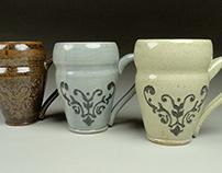 Slip Trailed Mugs