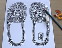 Shoes. Coloring book for adult. Boho chic
