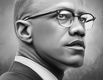 Malcolm X Digital Oil Painting by Wayne Flint