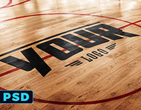 Basketball Court Logo Mockup