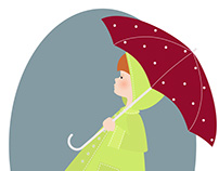 Design little girl with umbrella in rainy season