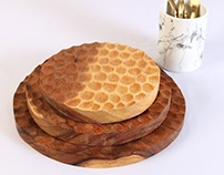 Handcarved Wood Table & Serveware