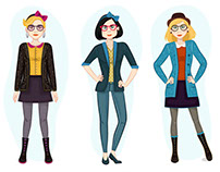 Woman Fashion/Hipster Character Illustrations