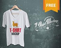 Free Classic V-Neck T-Shirt Mockup